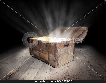 Chest of treasure stock photo, Ancient wooden treasure chest with the strong glow from inside.  by Sinisa Botas