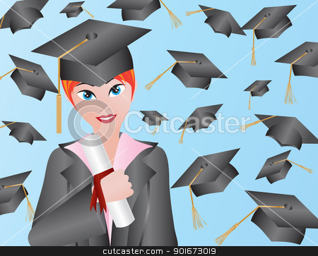 Female Graduation Illustration stock vector clipart, Female with Graduation Gown Cap and Diploma Illustration by Jit Lim