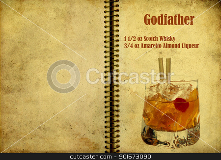 Godfather recipe stock photo, Old,vintage or grunge Spiral Recipe  Notebook with Godfather  cocktail  on the page.Room for text by borojoint