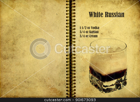 White Russian recipe stock photo, Old,vintage or grunge Spiral Recipe  Notebook with white russian  cocktail  on the page.Room for text by borojoint