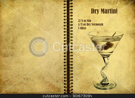 Dry Martini Recipe stock photo, Old,vintage or grunge Spiral Recipe  Notebook with dry martini cocktail  on the page.Room for text by borojoint