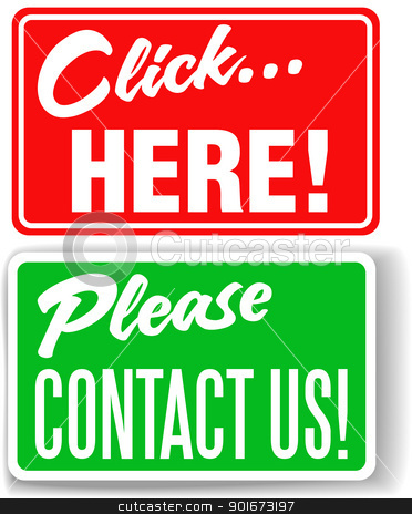 Please contact us click here store signs stock vector clipart, Set of store-front-style signs saying Please Contact Us and Click Here for websites by Michael Brown