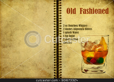 Old Fashioned recipe stock photo, Old,vintage or grunge Spiral Recipe  Notebook with Old Fashioned  cocktail  on the page.Room for text by borojoint