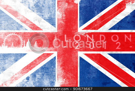 London 2012 stock photo, United kingdom painted flag with London skyline by Giordano Aita