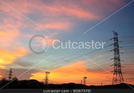 Eletric power post with sunset sky  stock photo, Eletric power post with sunset sky background. by pixbox77