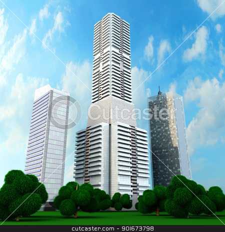 Modern Buildings stock photo, A contemporary skyscraper. 3D rendered Illustration. by Michael Osterrieder