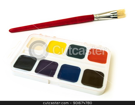 brush and watercolor stock photo, brush and watercolor over the white background by Sergej Razvodovskij