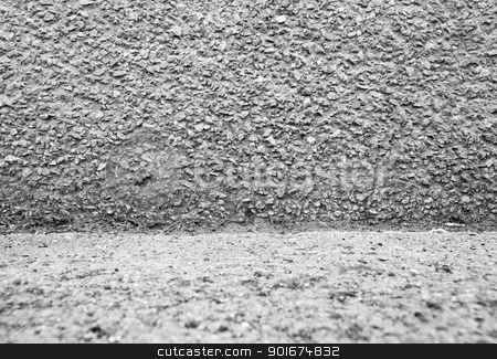 Grey stone wall stock photo, Black and white wall. Fragment stoned wall by Imaster