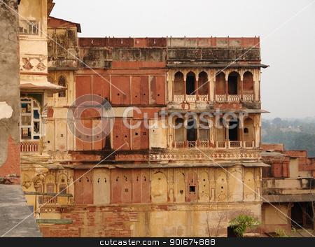 City Palace in Karauli stock photo, scenery around the City Palace in Karauli, a city in Rajasthan, India at evening time by prill