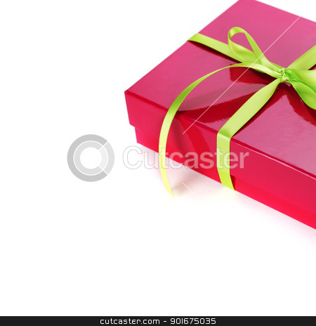 Pink gift box  stock photo, Pink gift box with Green ribbon on white background   by klenova