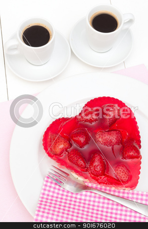 Love - Strawberry Cake stock photo, Heart Shaped Strawberry Cake and Two Cups of Coffee by JAMDesign