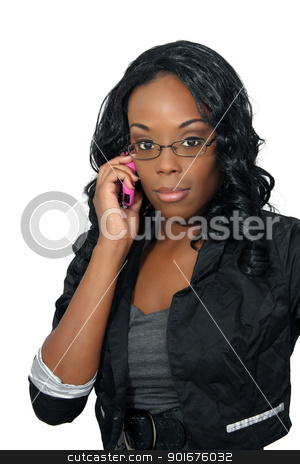 Beautiful Woman with Cell Phone (1) stock photo, A lovely young black businesswoman with her pink cellular phone.  Isolated on a white background. by Carl Stewart