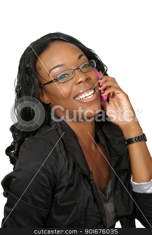 Beautiful Woman with Cell Phone (3) stock photo, A lovely young black businesswoman with her pink cellular phone.  Isolated on a white background. by Carl Stewart