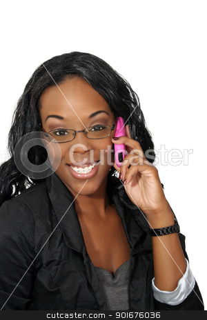 Beautiful Woman with Cell Phone (4) stock photo, A lovely young black businesswoman with her pink cellular phone.  Isolated on a white background. by Carl Stewart