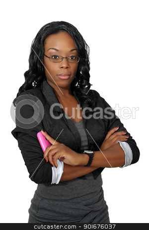 Beautiful Woman with Cell Phone (5) stock photo, A lovely young black businesswoman with her pink cellular phone.  Isolated on a white background. by Carl Stewart