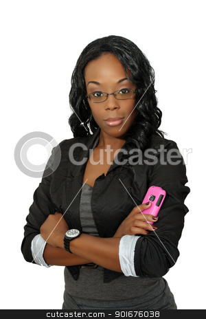 Beautiful Woman with Cell Phone (6) stock photo, A lovely young black businesswoman with her pink cellular phone.  Isolated on a white background. by Carl Stewart