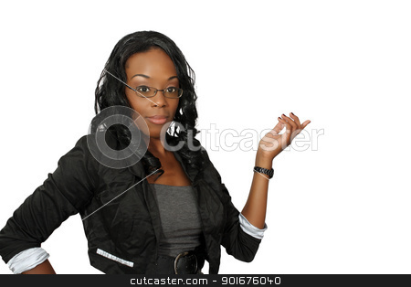 Beautiful Hostess, Closeup (1) stock photo, A close-up of a lovely young black hostess, pointing toward frame right.  Isolated on a white background with generous copyspace. by Carl Stewart