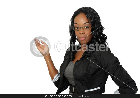 Beautiful Hostess, Closeup (2) stock photo, A close-up of a lovely young black hostess, pointing toward frame left.  Isolated on a white background with generous copyspace. by Carl Stewart