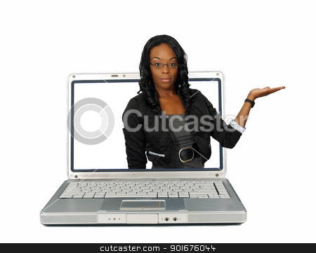 Beautiful Hostess on a Laptop Screen (1) stock photo, A lovely young black hostess reaches out of a laptop computer screen, pointing toward frame right.  Place your graphic easily into her flat palm.  Isolated on a white background with generous copyspace. by Carl Stewart