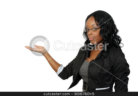 Beautiful Hostess, Closeup (4) stock photo, A close-up of a lovely young black hostess, pointing toward frame left.  Place your graphic easily into her flat palm.  Isolated on a white background with generous copyspace. by Carl Stewart