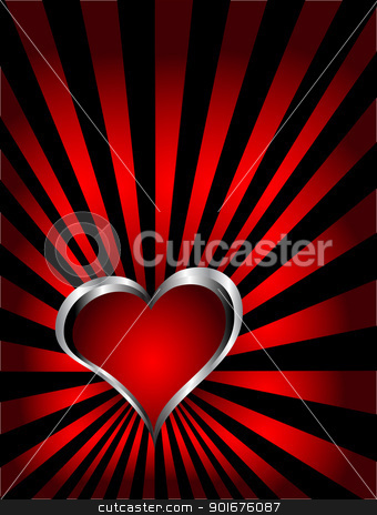 A vector valentines background  stock vector clipart, A vector valentines background with silver hearts on a deep red fan effect  backdrop  by Mike Price