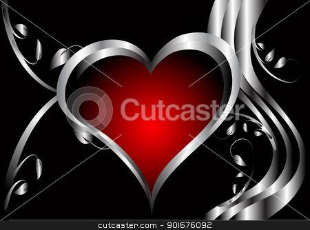 A vector valentines background stock vector clipart, A vector valentines background with silver hearts on a deep red and black backdrop  with   room for text by Mike Price