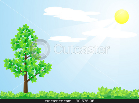Tree and sun stock vector clipart, Tree and sun illustration by vtorous