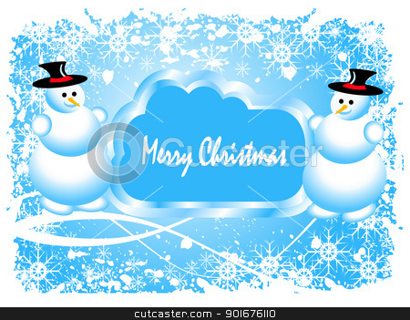 Abstract  grunge winter vector scene stock vector clipart, Abstract  grunge winter vector scene with  a blue  background, snowman and snowy christmas trees. by Mike Price