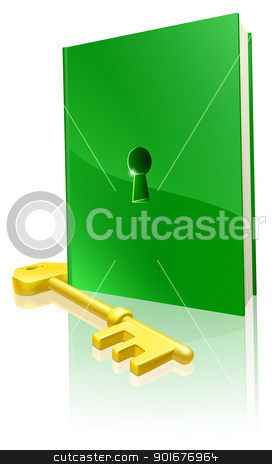 Access to education concept stock vector clipart, Access to education concept, a green book with keyhole and gold key to access it by Christos Georghiou