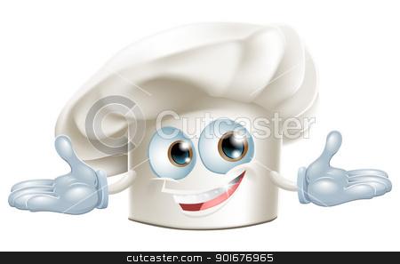 Happy white chefs hat cartoon man stock vector clipart, Happy white chef's hat cartoon man smiling by Christos Georghiou