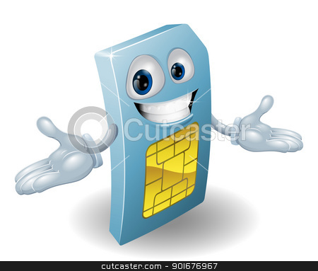 Mobile phone sim card mascot stock vector clipart, A mobile phone subscriber identity module card mascot by Christos Georghiou