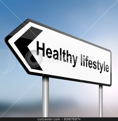 Healthy lifestyle. stock photo, illustration depicting a sign post with directional arrow containing a healthy lifestyle concept. Blurred background. by Samantha Craddock