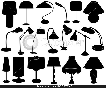 Lamp set stock vector clipart, Lamp set isolated on white by Ioana Martalogu