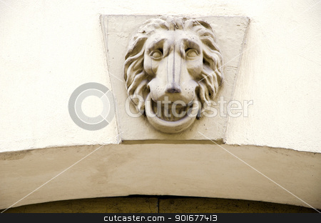 Lion symbol on ancient grunge architectural wall  stock photo, Lion symbol on ancient grunge architectural wall closeup.  by sauletas