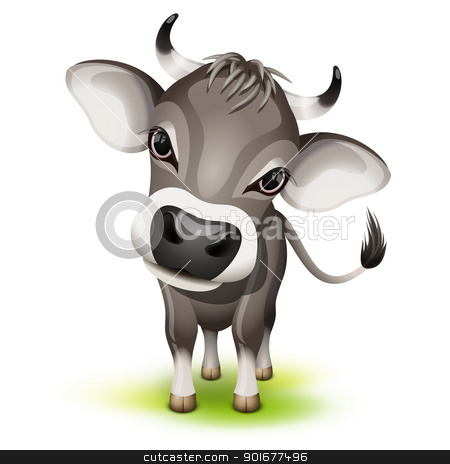 Little swiss cow stock vector clipart, Little swiss cow with a cocked head by Laurent Renault