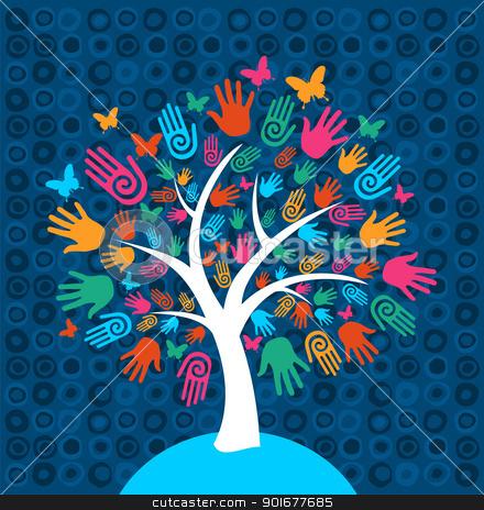 Diversity Tree Hands Background Stock Vector