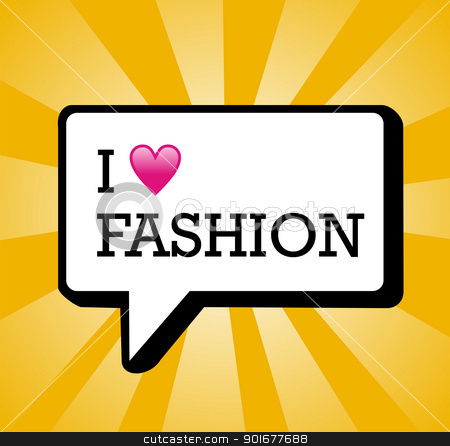 I love fashion background illustration stock vector clipart, I love Fashion text in communication bubble background illustration. Vector file layered for easy manipulation and custom coloring. by Cienpies Design