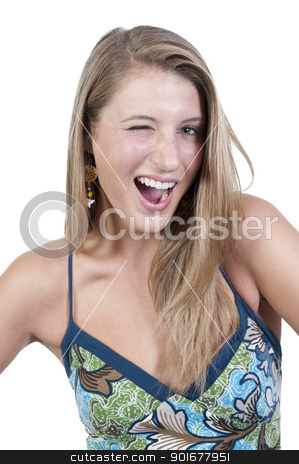 Beautiful Woman WInking stock photo, A flirting young Beautiful Woman winking and smiling by Robert Byron