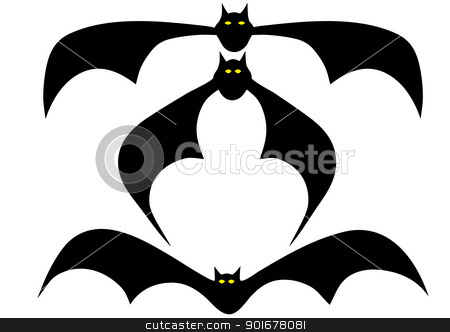 various bats stock vector clipart, Illustration of the flying bat - vector by Siloto
