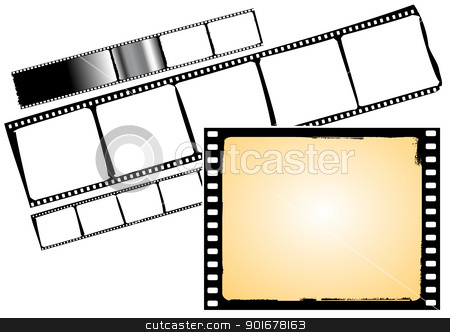 film strip and frame stock vector clipart, various film frames and film strips - vector by Siloto