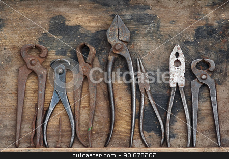 forceps stock photo, Various types of the forceps in the wooden case. Dental forceps.Funny. by Siloto