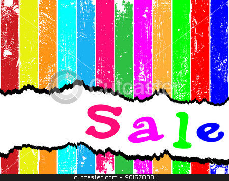 Vector merry sales template stock photo, Merry sales template. Tag sale on a multicolored plank by Imaster