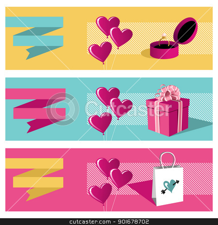 Happy day greeting card sale set stock vector clipart, Happy lovers day greeting card background sale set. Vector file available. by Cienpies Design