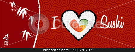 I love sushi banner background stock vector clipart, I love sushi banner handwritten in white over red background. Vector file layered for easy manipulation and custom coloring. by Cienpies Design