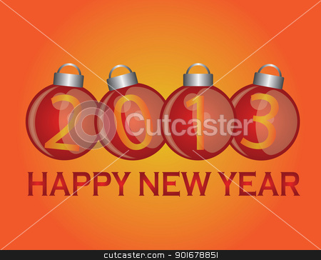 2013 New Year Ornaments stock vector clipart, 2013 Happy New Year Christmas Ornaments Illustration by Jit Lim