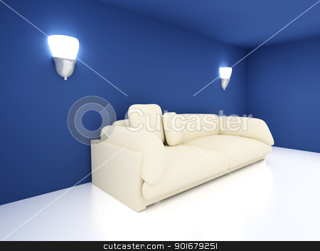 Sofa in a blue room stock photo, 3D rendered Interior. A Sofa in a blue room.  by Michael Osterrieder