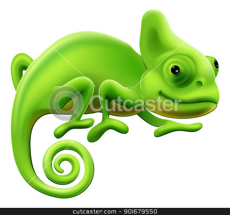 Cute Chameleon Illustration stock vector clipart, An illustration of a cute green cartoon chameleon lizard by Christos Georghiou