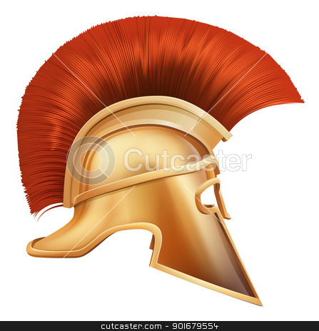 Spartan helmet illustration stock vector clipart, Illustration of side on Spartan helmet or Trojan helmet also called a Corinthian helmet. Versions also used by the Romans. by Christos Georghiou