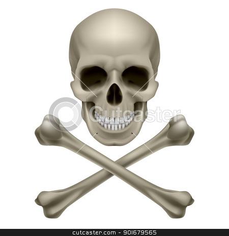 Skull and crossbones stock photo, Skull and crossbones. Illustration on white background by dvarg
