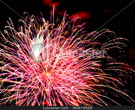 Fireworks stock photo, Long exposure of multiple fireworks against a black sky by Imaster